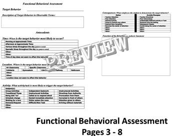 Functional Behavioral Assessment Behavior Intervention Support Plan