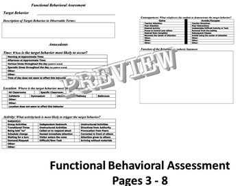 Functional Behavioral Assessment Behavior Intervention Support Plan