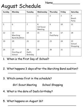 Functional Calendar Skills