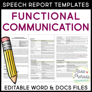 Functional Communication Speech/Language Evaluation Report Tempalte