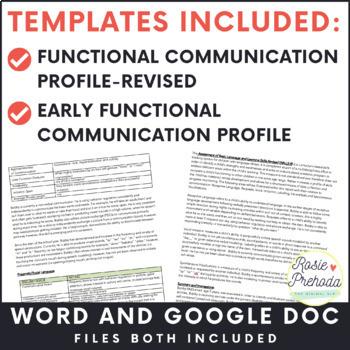 Functional Communication Speech/Language Evaluation Report Tempalte