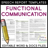Functional Communication Speech Evaluation Report Template