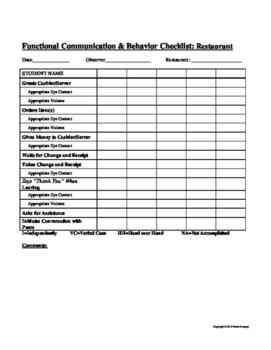 Functional Communication and Behavior Checklist - Restaurant