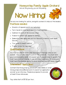 Functional Format Text Apple Orchard Job Flyer and Activities