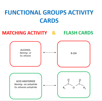 Functional Group Activity Cards-Matching and Flash Cards