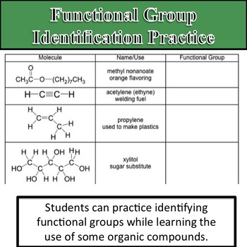 Functional Group Identification Practice