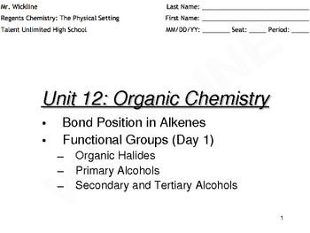 Functional Groups (Halides and Alcohols)