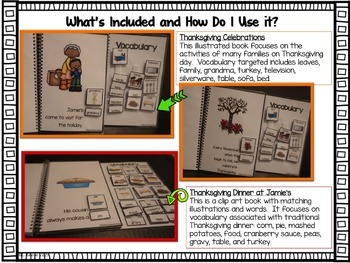 Thanksgiving Functional Interactive Adapted Books for Special Education