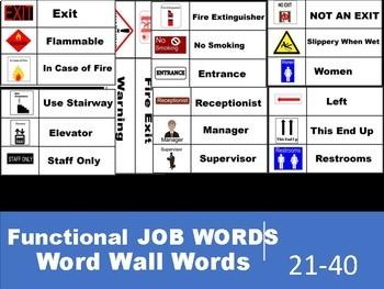 Functional Job Words 21-40 Word Wall Words
