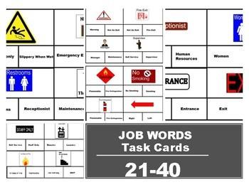 Functional Job Words Task Cards 21-40