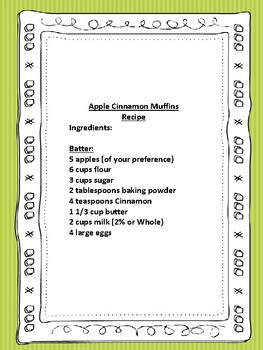 Functional Literacy Apple Cinnamon Muffin Recipe