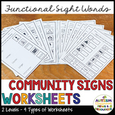 Functional Literacy Worksheets: Reading Comprehension of Common Signs