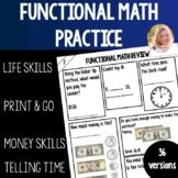 Functional Math Worksheet Life Skills Money Math Telling Time Clock