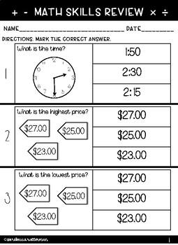 Functional Math Worksheets: Level 2