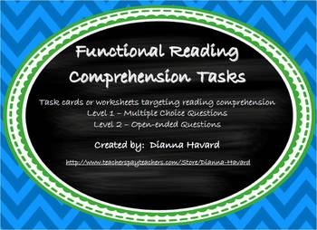 Functional Reading Comprehension Tasks