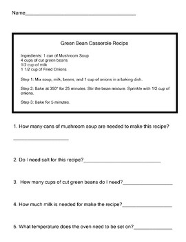 Functional Reading Practice RECIPES 5 Worksheets