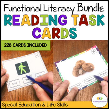 Reading Functional Sight Words Task Cards Bundle: {Special Ed; Autism}