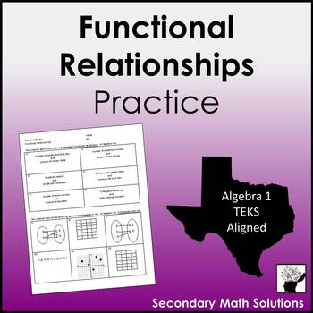 Functional Relationships Practice (8.5G, A12A)