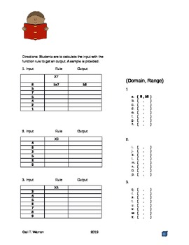Functional Rule imput and output math activity