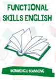 Functional Skills English Reading: 2X Skimming & Scanning Tasks & Answers