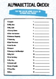 Functional Skills English Writing: Alphabetical Order Song Worksheet & Answers