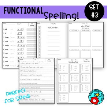 Functional Spelling  Set #3 / Special Education/ Resource