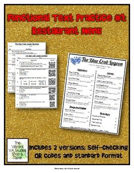 Functional Text #1: Restaurant Menu