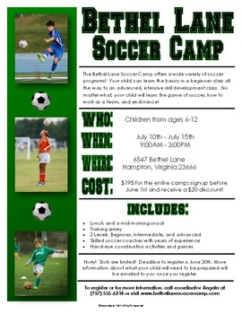 Functional Text #12: Soccer Camp Flyer
