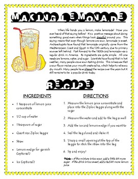 Functional Text #17: Making Lemonade Recipe