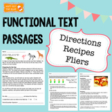 Functional Text Passages with Comprehension Questions: Flier, Recipe, Directions
