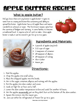 Functional Text #6: Apple Butter Recipe