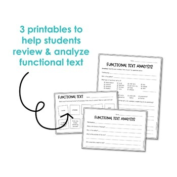 Functional Text Anchor Charts and Printables