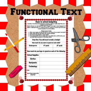 Functional Text: Back to School Ads/Supply Lists