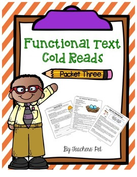 Cold Reads: Functional Text Packet 3