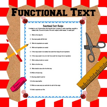 Functional Text: Recipe handout