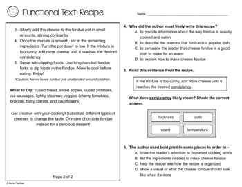 Functional Text - Recipe (SOL 4.4 and 4.6)
