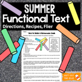 Functional Text Passages: Summer Themed Directions, Recipe, Flier