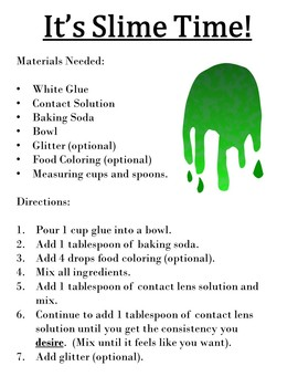 Functional Text with Questions--Making Slime!