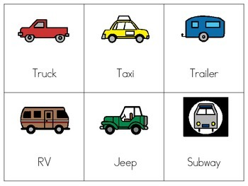 Functional Vocabulary Flashcard Transportation Words