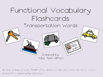Functional Vocabulary Flashcard Transportation Words