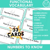Functional Numbers Vocabulary for Middle and High School Speech Therapy