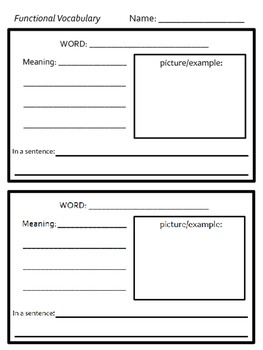 Functional Vocabulary Packet