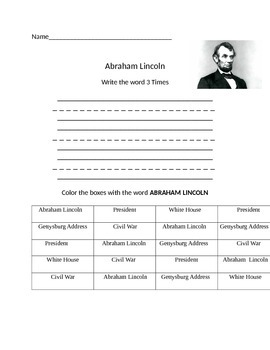 Functional Words- Abraham Lincoln