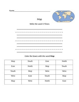 Functional Words- Cardinal Directions