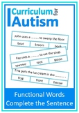 Functional Words Complete The Sentence Autism Reading Comp