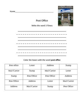 Functional Words- Post Office
