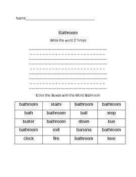 Functional Words- Survival Signs (Set 1- bathroom, down, stairs phone)