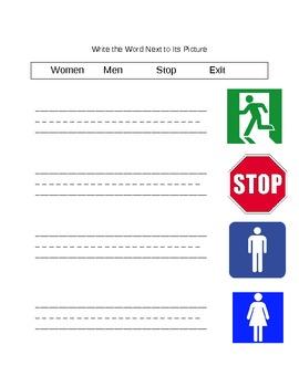 Functional Words- Survival Signs (Set 2- men, women, stop, exit)