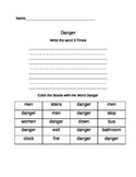 Functional Words - Survival Signs (Set 3- danger, elevator, push, pull)