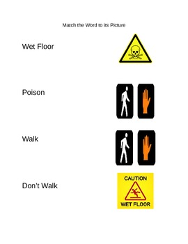 Functional Words- Survival Signs (Set 4- wet floor, poison, walk, don't walk)